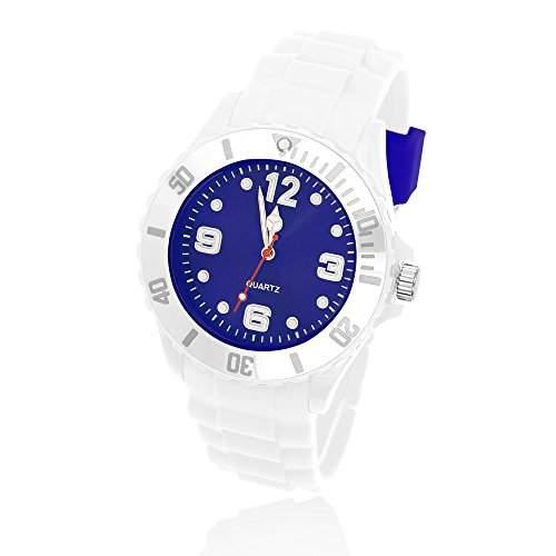 Silikon Uhr Armbanduhr Herren Damen Quarz Trend Weiss Gummi Watch Unisex weiss-royalblau