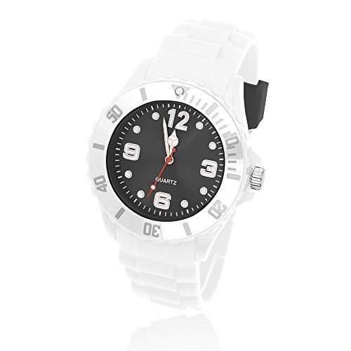 Silikon Uhr Armbanduhr Herren Damen Quarz Trend Weiss Gummi Watch Unisex weiss-hellblau