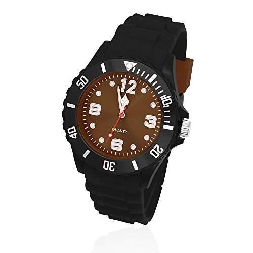 Silikon Uhr Armbanduhr Herren Damen Quarz Trend Schwarz Gummi Watch Unisex schwarz-braun