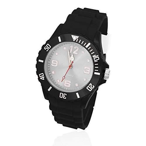 Silikon Uhr Armbanduhr Herren Damen Quarz Trend Schwarz Gummi Watch Unisex schwarz-weiss