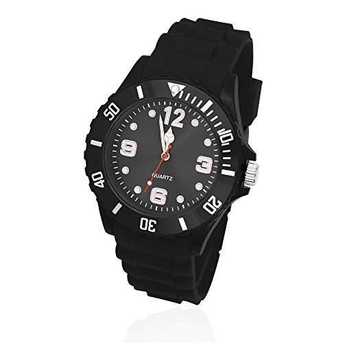 Silikon Uhr Armbanduhr Herren Damen Quarz Trend Schwarz Gummi Watch Unisex schwarz-hellblau