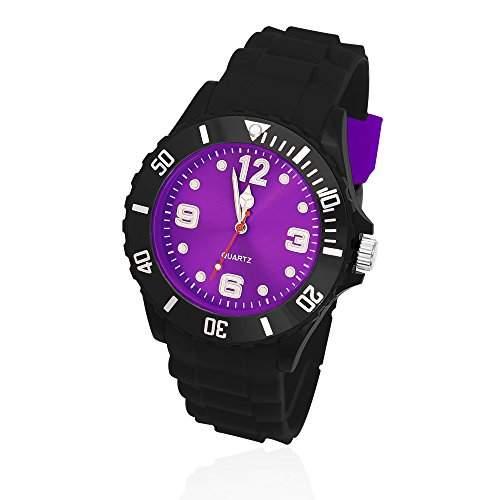 Silikon Uhr Armbanduhr Herren Damen Quarz Trend Schwarz Gummi Watch Unisex schwarz-lila
