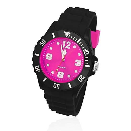 Silikon Uhr Armbanduhr Herren Damen Quarz Trend Schwarz Gummi Watch Unisex schwarz-pink