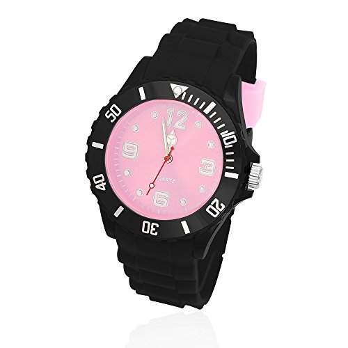 Silikon Uhr Armbanduhr Herren Damen Quarz Trend Schwarz Gummi Watch Unisex schwarz-rosa