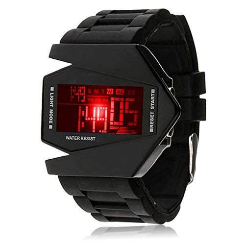 Silikon LED LCD Uhr Digital Armbanduhr Herren Damen Fliegeruhr Camouflage Militaer Military Trend Gummi Unisex Sport schwarz