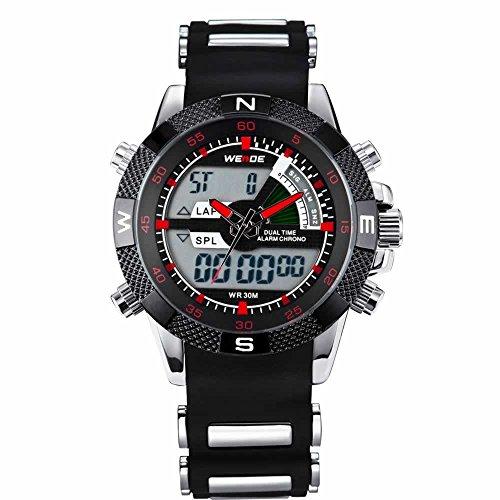 Autiga Armbanduhr Edelstahl Herrenuhr Sportuhr Uhr Chronograph Digital schwarz weiss
