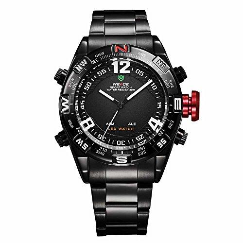 Armbanduhr Edelstahl Sportuhr Uhr Quarzuhr Datum Digital LED Cool schwarz rot