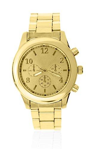Edle Designer Armbanduhr Edelstahl Chronograph Optik Analog Quarz gold