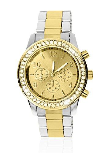 Edle Designer Armbanduhr Strass Kristall Edelstahl Chronograph Optik silber gold