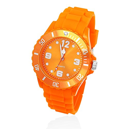 Silikon Uhr Armbanduhr Herren Damen Kinder Quarz Trend Bunt Gummi Watch Unisex orange 43 mm