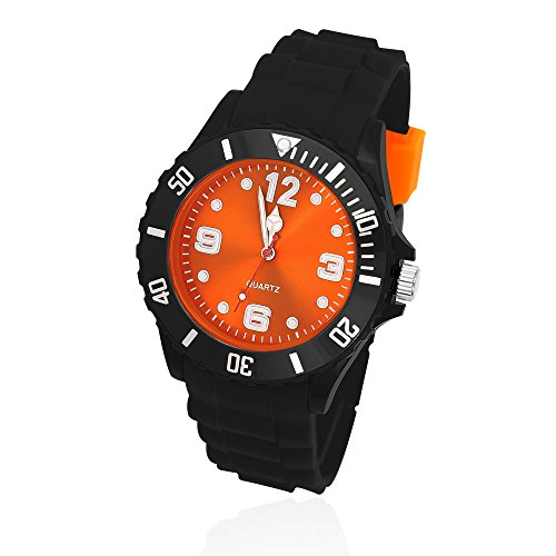 Silikon Uhr Armbanduhr Herren Damen Quarz Trend Schwarz Gummi Watch Unisex schwarz orange