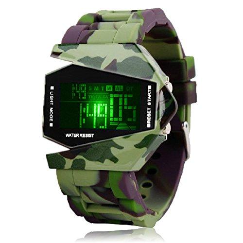 Silikon LED LCD Uhr Herren Damen Fliegeruhr Camouflage Militaer Military Trend Gummi Unisex Sport camouflage