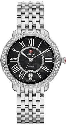 Michele Serein 16 schwarz Zifferblatt Edelstahl Stahl Damen Watch mww21b000024