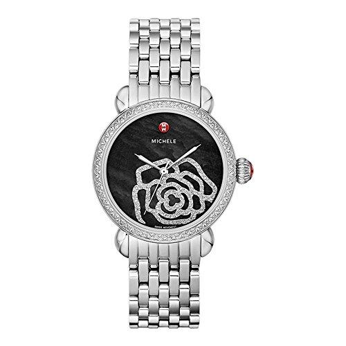 Michele Damen Armbanduhr 36mm Armband Edelstahl Gehaeuse Batterie Zifferblatt Schwarz MWW03T000031
