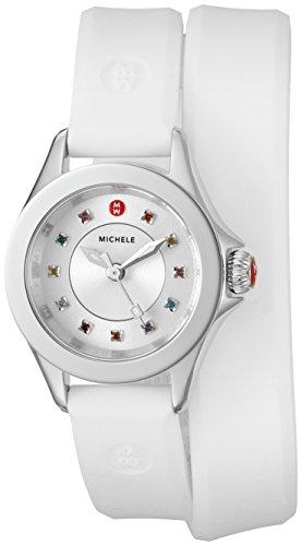 Michele Damen Armbanduhr 25mm Armband Silikon Weiss Gehaeuse Edelstahl Quarz Zifferblatt Silber MWW27B000003