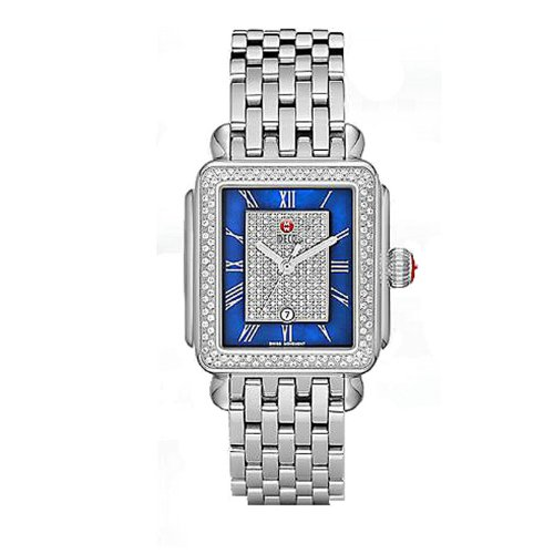 Michele Deco Diamond Blue Pave Zifferblatt Gurt mww06t000082