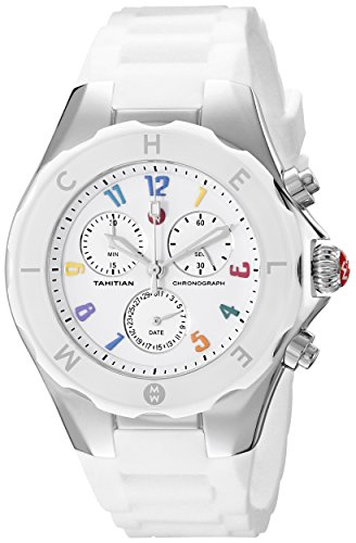 NEW Michele Large Tahitian Jelly Bean Carousel Stainless Steel White Uhr