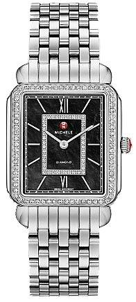 Michele Deco II schwarz Mutter von Pearl Zifferblatt Edelstahl Stahl Damen Watch mww06 X 000011