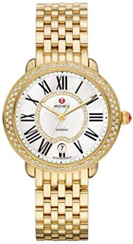 Michele Serein weiss Mutter von Pearl Zifferblatt 18 kt vergoldete Damen Armbanduhr mww21b000031