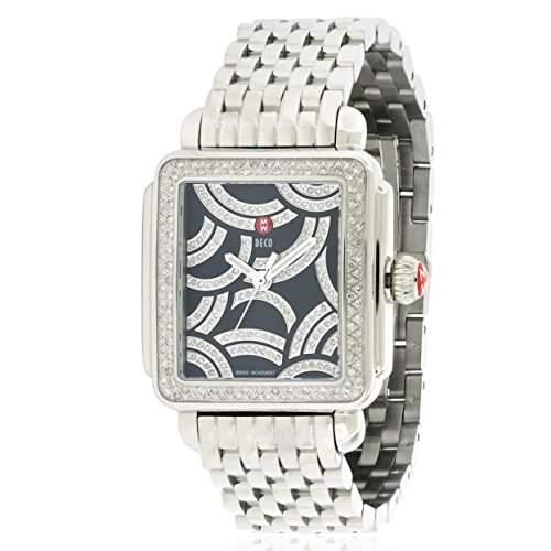 Michele Deco Damen Diamanten Silber Edelstahl Armband & Gehaeuse Uhr MWW06T000115