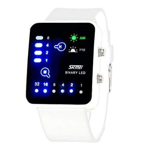 Technological Sense Binary Digital LED Decoration Waterproof Boys Girls Sports Casual Wrist Watches - White