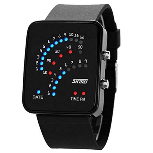 Boys and Girls Square Mirror Technological Sense Binary Digital LED Quartz Waterproof Sport Wrist Watch - Black