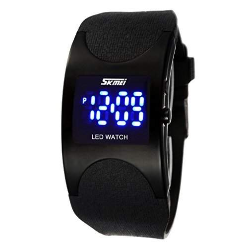 Boys and Girls Water Resistant LED Digital Display Alloy Case Black Silicone Arced Dial Sport Wrist Watch