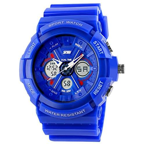 Kids Students Sport Watch AnalogDigital Water Resist Dual Time Multifunction Alarm Led Wristwatch - Blue