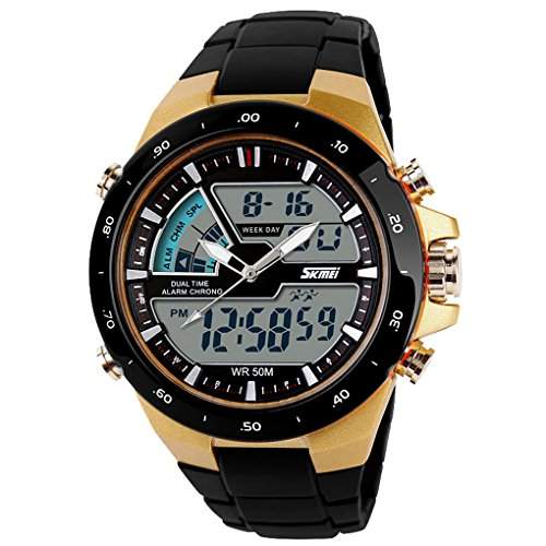 Sports Watch Silicone 52M water resistant Light Digital Watch - Earth Yellow