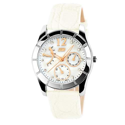 Girls Quartz Dress Diamond Watch Women Leather Strap Watch - White