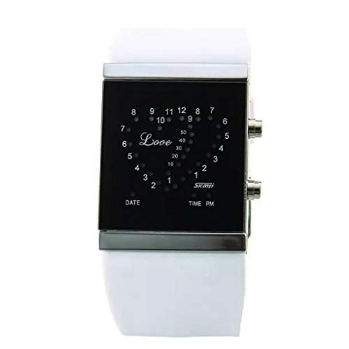 Boys and Girls Romantic LED Double-Heart Digital Lovers Sport Watch - White