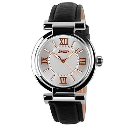 Women Girls Watches Leather Strap Gold Quartz Fashion Waterproof Watch - Black