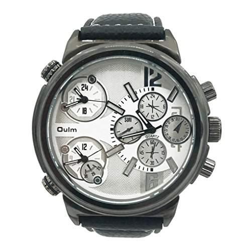 Oulm 3299 Japan Herren Vintage Armbanduhr Round Dial Leder Uhrenarmband Uhr - Weiss