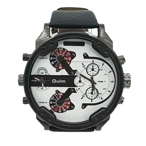 Oulm 3548 Japan Herren Fashion Vintage Modisch Armbanduhr mit Round Dial Movt Leder Armband Uhr - Weiss