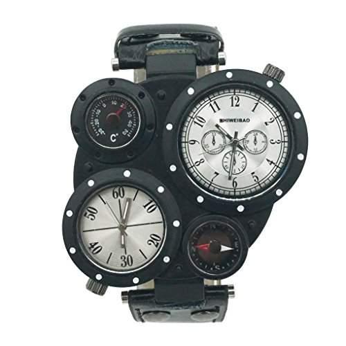 Smartstar J3104 Herren Fashion Vintage Modisch Unregelmaessig Dial Leder Uhrenarmband Uhr - Weiss