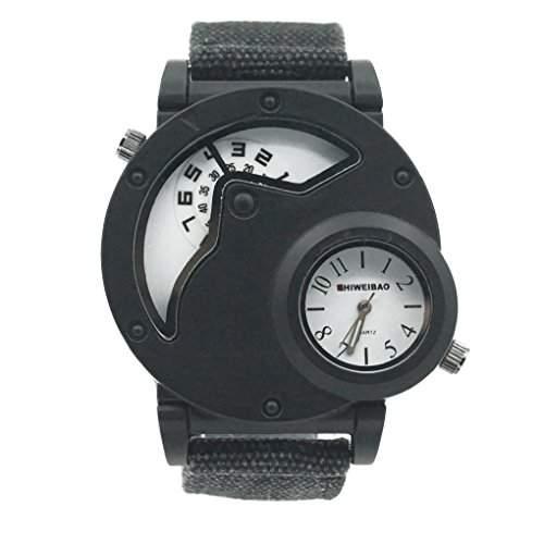 Smartstar A3135 Herren Fashion Vintage Modisch Dual Display Canvas Uhrenarmband Uhr -Weiss