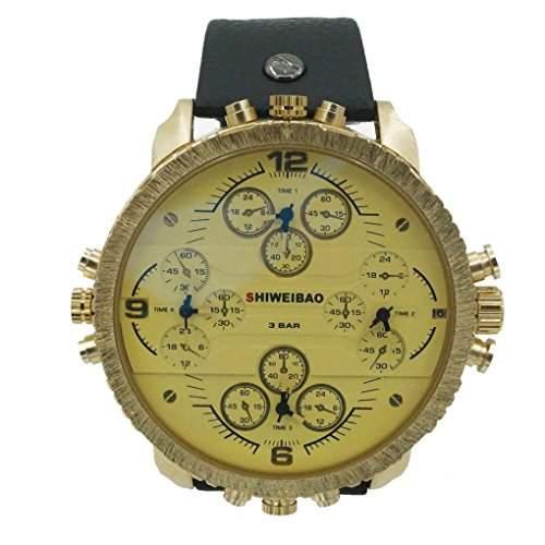 Smartstar A1165 Herren Fashion Vintage Modisch Multi-movt Leder Uhrenarmband Uhr 30 Meter wasserdicht-Schwarz