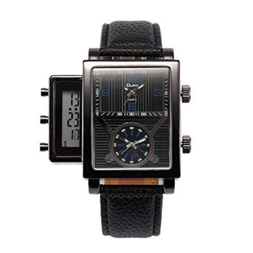 Oulm Herren Dual Display Drei Zeitzonen Armbanduhr mit Lederguertel Schwarz&Blau