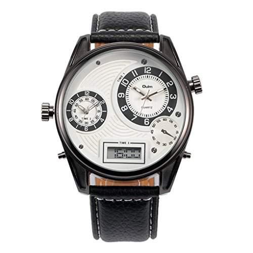 Oulm Herren Dual Display Drei Zeitzonen Armbanduhr mit Lederguertel Schwarz