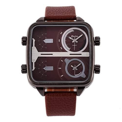 Oulm Herren Quarz Military-Armbanduhr militaerisches Armbanduhr quadratisch Lederguertel Braun