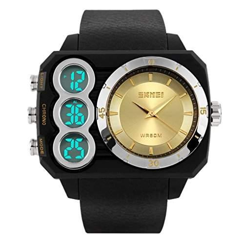 SKMEI Maenner Sport 5ATM Wasserdicht Digital & Analog Dual-Sport-Uhr-Anzeige Stoppuhr Digitaluhr - Gold