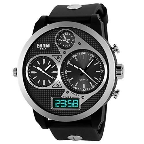 SKMEI Racing Design Maenner 3 Zeitzone Analog-Digital-Datum 50 Meter Tiefe wasserdichte Uhr Sporty-Armbanduhr