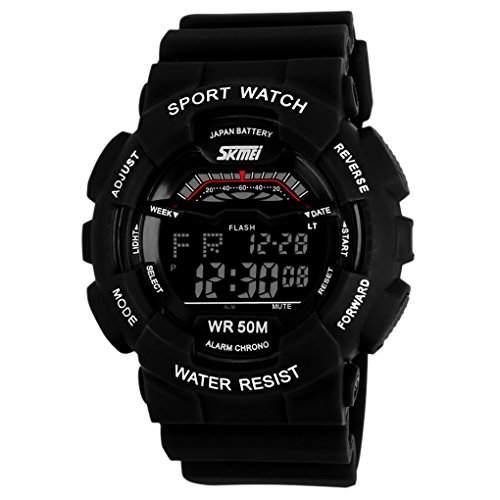 SKMEI Herren Multifunktions-LED Digital LCD Sports Stoppuhr Alarm Wasserdicht Armbanduhr - Schwarz