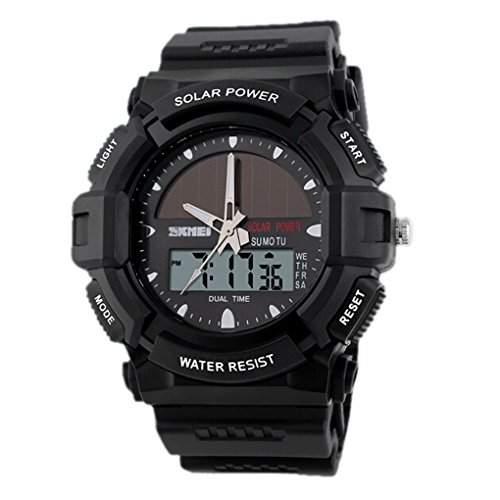 SKMEI 1050 Wasserdicht Dual Time Zone Sportuhr Solar-Sport Kombi Watch - Schwarz