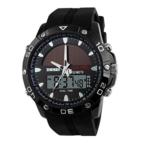 SKMEI Herren Solar Power Military Dual Time Zones Rechenschieber-Silikon-Band Sport-Armbanduhr - Schwarz