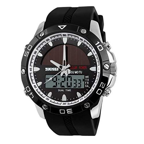 SKMEI Herren Solar Power Military Dual Time Zones Rechenschieber-Silikon-Band Sport-Armbanduhr - Silber