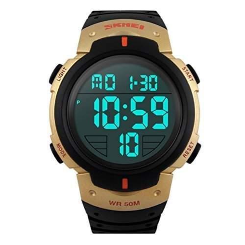 SKMEI Herren Einfache Design Digital-LCD-Bildschirm-Sport-Armbanduhr - gold