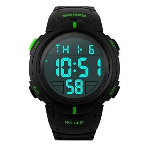 SKMEI Herren Einfache Design Digital-LCD-Bildschirm-Sport-Armbanduhr - gruen