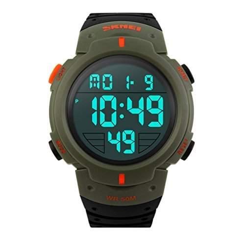 SKMEI Herren Einfache Design Digital-LCD-Bildschirm-Sport-Armbanduhr - grassgruen
