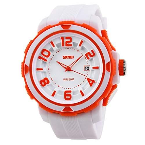 SKMEI Unisex Kinderuhren 3D-Vorwahlknopf-analoge Datumsanzeige Sport Armbanduhren - Weiss